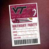Virginia Tech Birthday Party 10 Pack Invitations