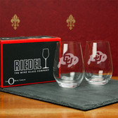 Colorado Buffaloes  Set of 2 Riedel 13 OZ Stemless Red Wine Glasses