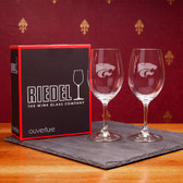 Kansas State Wildcats  Set of 2 Riedel 9 OZ White Wine Glasses