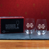 Mississippi State Bulldogs  Set of 2 Riedel 21 OZ Stemless Red Wine Glasses