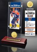 Edmonton Oilers Connor McDavid Ticket & Bronze Coin Acrylic Desk Top