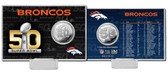 Denver Broncos Super Bowl 50 Silver Flip Coin Card