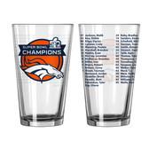 Denver Broncos Super Bowl 50 Champs Roster Pint Glass