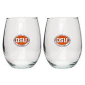 Oregon State Beavers Stemless Wine Glass (Set of 2)