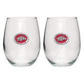 Arkansas Razorbacks Stemless Wine Glass (Set of 2)