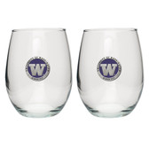 Washington Huskies Stemless Wine Glass (Set of 2)