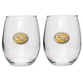 Georgia Tech Yellow Jackets Stemless Wine Glass (Set of 2) # 2