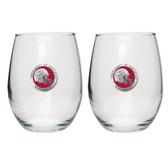 Arkansas Razorbacks Helmet Logo Stemless Wine Glass (Set of 2)