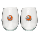 Oklahoma State Cowboys Helmet Logo Stemless Wine Glass (Set of 2)
