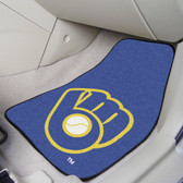 "Milwaukee Brewers ""Ball in Glove"" 2-piece Carpeted Car Mats 17""x27"""