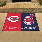 "Cincinnati Reds - Cleveland Indians House Divided Rugs 33.75""x42.5"""