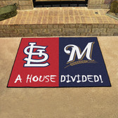 "Cardinals - Brewers Divided Rugs 33.75""x42.5"""