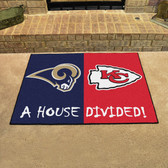 "St. Louis Rams - Kansas City Chiefs House Divided Rugs 33.75""x42.5"""