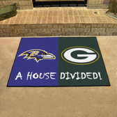 "Baltimore Ravens - Green Bay Packers House Divided Rugs 33.75""x42.5"""
