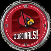 Louisville Cardinals Go Team! Chrome Clock