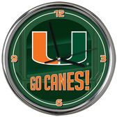 Miami Hurricanes Go Team! Chrome Clock