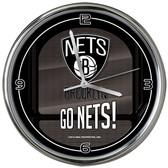 Brooklyn Nets Go Team! Chrome Clock