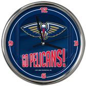 New Orleans Pelicans Go Team! Chrome Clock