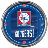 Philadelphia 76ers Go Team! Chrome Clock