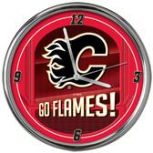 Calgary Flames Go Team! Chrome Clock