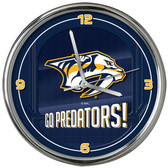 Nashville Predators Go Team! Chrome Clock