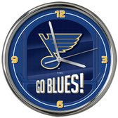 St. Louis Blues Go Team! Chrome Clock