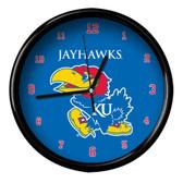 Kansas Jayhawks Black Rim Clock - Basic