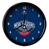 New Orleans Pelicans Logo Black Rim Clock