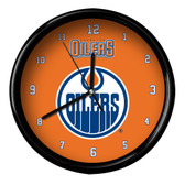 Edmonton Oilers Black Rim Clock - Basic