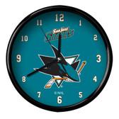 San Jose Sharks Black Rim Clock - Basic