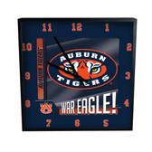 Auburn Tigers Go Team! 12in Square Clock