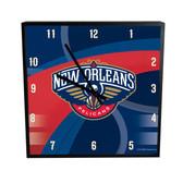 New Orleans Pelicans Carbon Fiber 12in Square Clock
