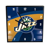 Utah Jazz Carbon Fiber 12in Square Clock