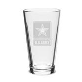 US Army Deep Etched 16oz Pub Glass