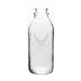 US Air Force 33.5 OZ Deep Etched Glass Milk Bottle