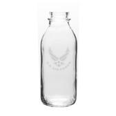 US Air Force 33.5 OZ Deep Etched Glass Milk Bottle