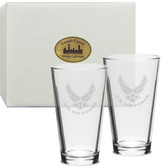 US Air Force Deep Etched Pub Glass Set of 2 Air Force