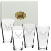 Us Air Force Deep Etched Pub Glass Set of 4 Air Force