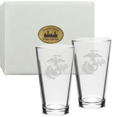 US Marines Deep Etched Classic Pub Glass Set of 2