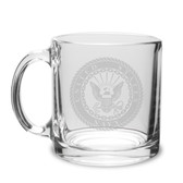 US Navy Deep Etched 13 Oz Clear Glass Coffee Mug