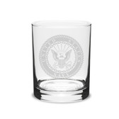 US Navy Deep Etched 14oz Double Old Fashion Glass