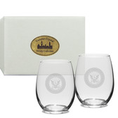 US Navy Deep Etched Stemless Wine Glass Set of 2