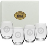US Navy Deep Etched Stemless Wine Glass Set of 4