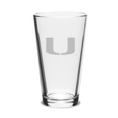 Miami Hurricanes Deep Etched Deep Etched Classic Pub Glass Set of 2