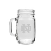 Notre Dame Fighting Irish Deep Etched 16 oz. Old Fashion Drinking Jar with Handle