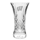 Wisconsin Badgers 11.75 inch Deep Etched Cristal D'Arques Vase