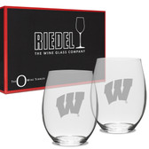 Wisconsin Badgers Deep Etched Deep Etched Riedel Set of 2 Deep Etched Stemless Wine Glasses