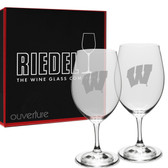 Wisconsin Badgers Deep Etched Deep Etched Riedel Set of 2 Wine Glasses