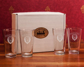 Columbia University Deep Etched Classic Pub Glass Set of 4