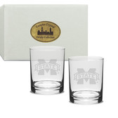 Mississippi State Bulldogs Deep Etched Double Old Fashion Glass Set of 2